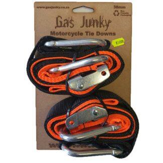 GAS JUNKY | SOFT LOOP TIE DOWN WITH CAM BUCKLE -38MM – BLACK/ORANGE