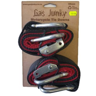 GAS JUNKY   SOFT LOOP TIE DOWN WITH CAM BUCKLE -38MM – BLACK RED